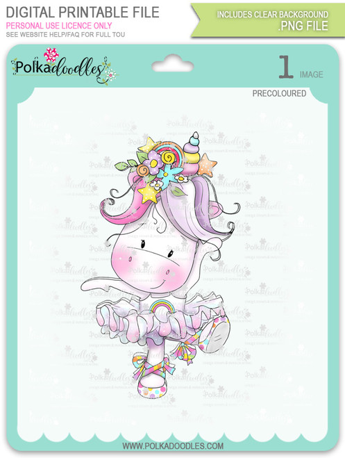 Ballet Dancing - Sparkle Unicorn COLOUR digi stamp download