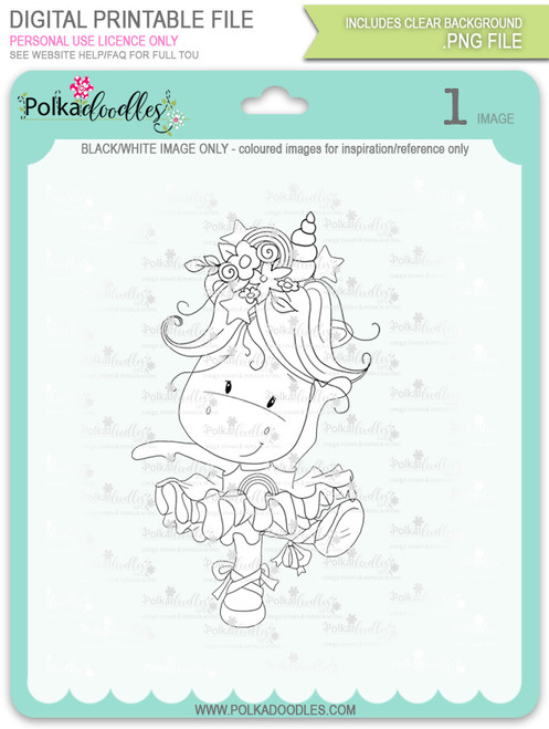 Ballet Dancing - Sparkle Unicorn digi stamp download