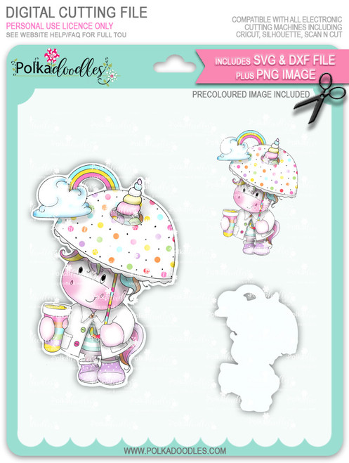 Believe in Rainbows - Sparkle Unicorn COLOUR digi stamp download with Cutting File