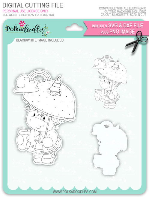Believe in Rainbows - Sparkle Unicorn digi stamp download with Cutting File