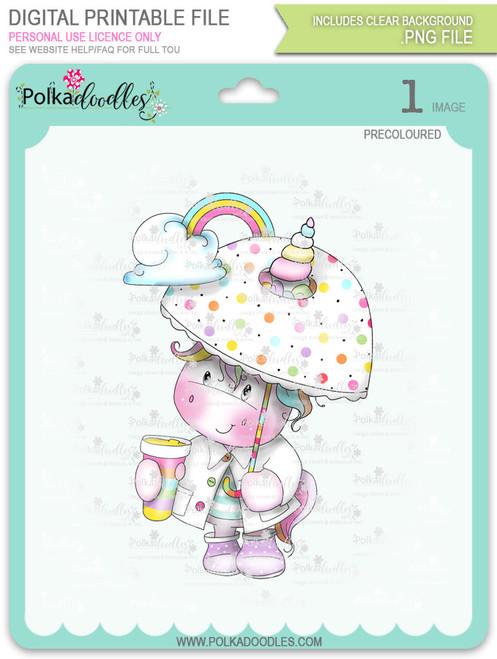 Believe in Rainbows - Sparkle Unicorn COLOUR digi stamp download