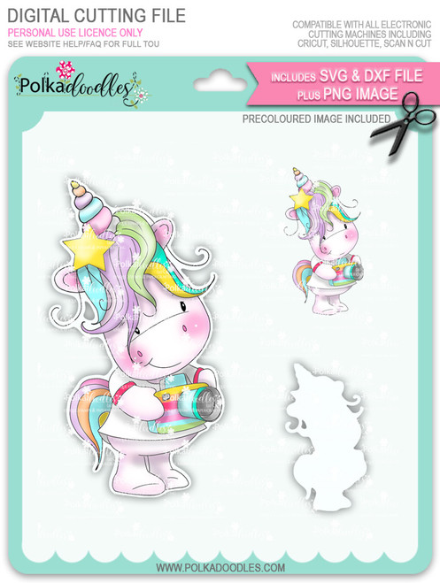Camera Shy 2 - Sparkle Unicorn COLOUR digi stamp download with Cutting File