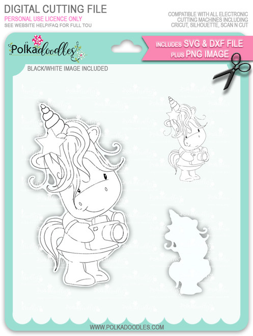 Camera Shy 2 - Sparkle Unicorn digi stamp download with Cutting File