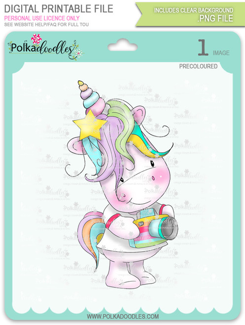 Camera Shy 2 - Sparkle Unicorn COLOUR digi stamp download