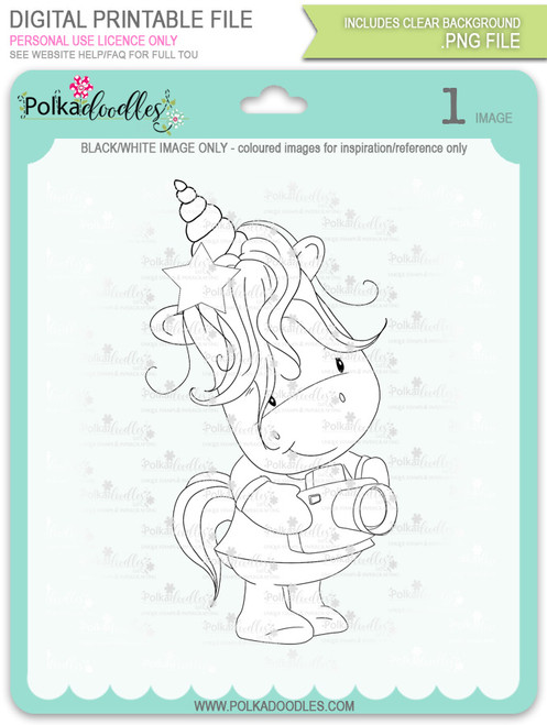 Camera Shy 2 - Sparkle Unicorn digi stamp download