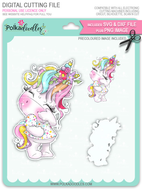 Camera Shy 1 - Sparkle Unicorn COLOUR digi stamp download with Cutting File
