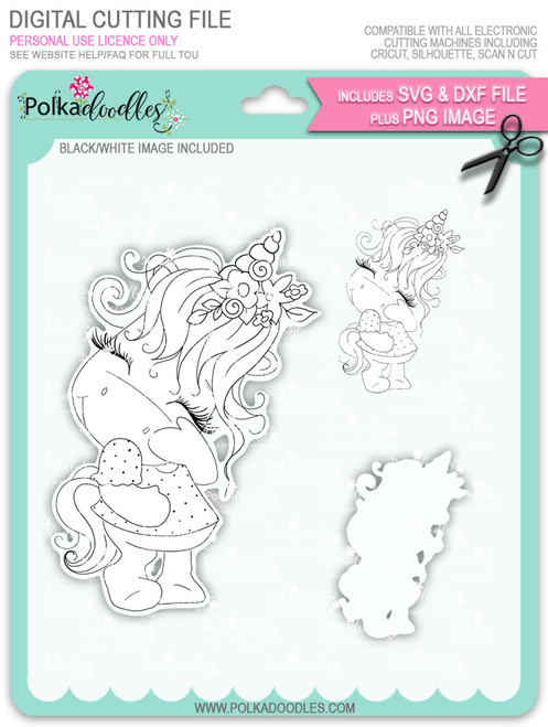Camera Shy 1 - Sparkle Unicorn digi stamp download with Cutting File