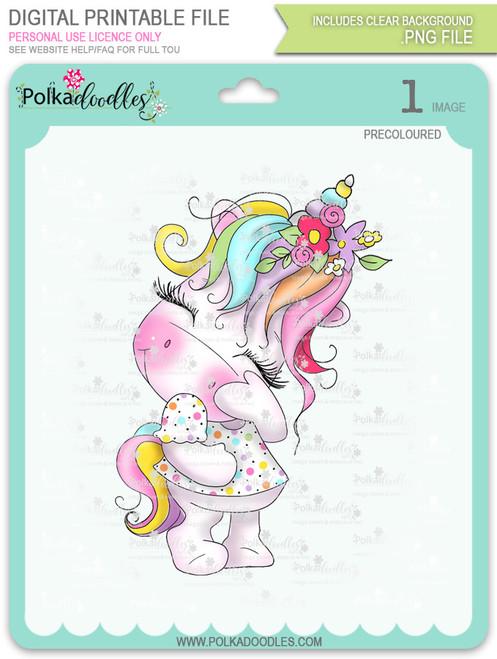 Camera Shy 1 - Sparkle Unicorn COLOUR digi stamp download