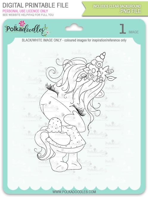 Camera Shy 1 - Sparkle Unicorn digi stamp download