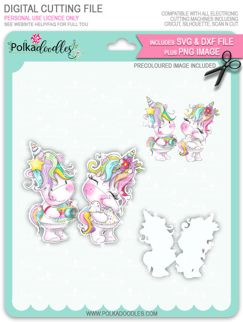 Camera Shy - Sparkle Unicorn COLOUR digi stamp download with Cutting File