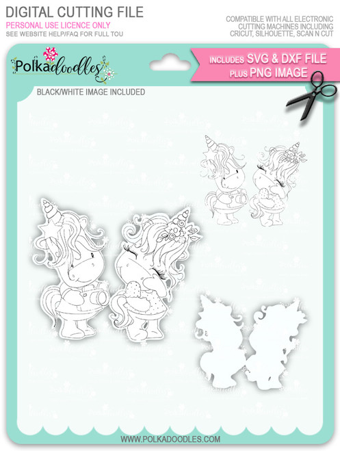 Camera Shy - Sparkle Unicorn digi stamp download with Cutting File