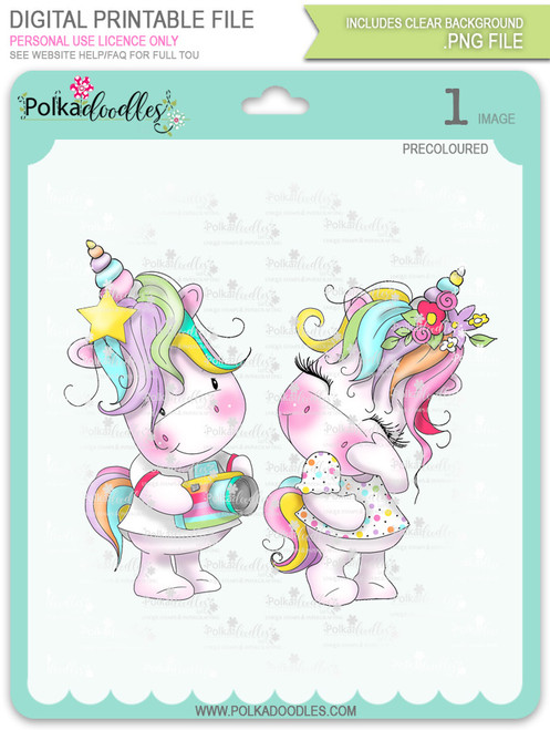 Camera Shy - Sparkle Unicorn COLOUR digi stamp download
