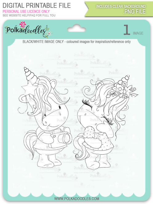 Camera Shy - Sparkle Unicorn digi stamp download
