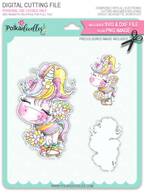 Cheer - Sparkle Unicorn COLOUR digi stamp download with Cutting File