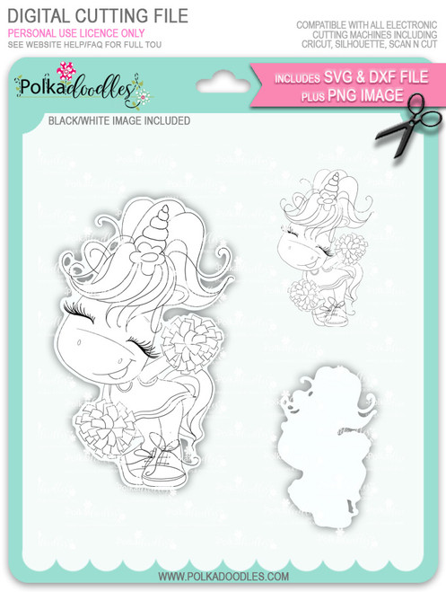 Cheer - Sparkle Unicorn digi stamp download with Cutting File