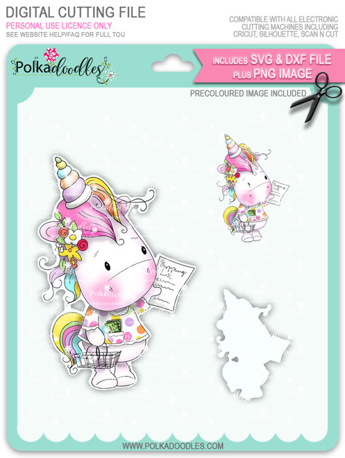 Coupon Day - Sparkle Unicorn COLOUR digi stamp download with Cutting File