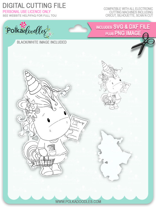 Coupon Day - Sparkle Unicorn digi stamp download with Cutting File