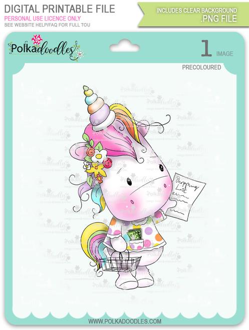 Coupon Day - Sparkle Unicorn COLOUR digi stamp download