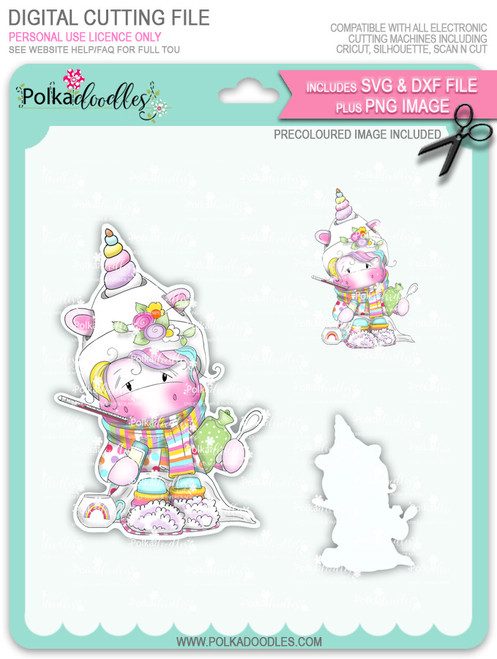 Get Well Soon - Sparkle Unicorn COLOUR digi stamp download with Cutting File
