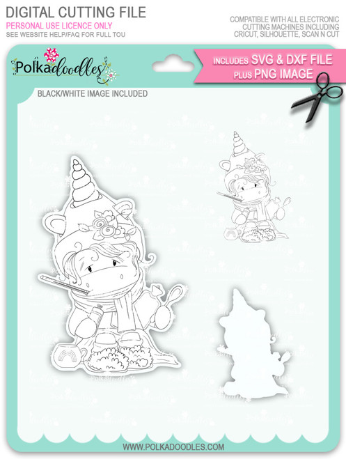 Get Well Soon - Sparkle Unicorn digi stamp download with Cutting File