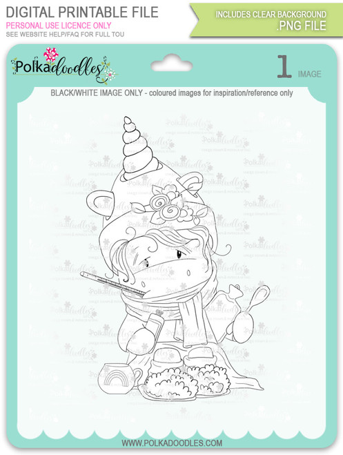 Get Well Soon - Sparkle Unicorn digi stamp download
