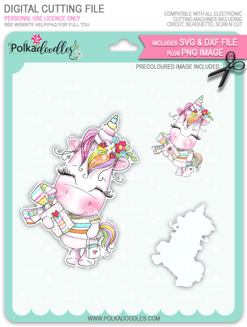 Gift of Love - Sparkle Unicorn COLOUR digi stamp download with Cutting File
