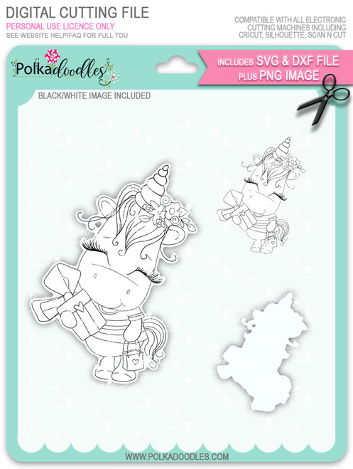 Gift of Love - Sparkle Unicorn digi stamp download with Cutting File