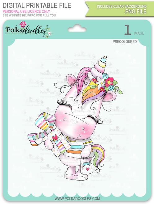 Gift of Love - Sparkle Unicorn COLOUR digi stamp download