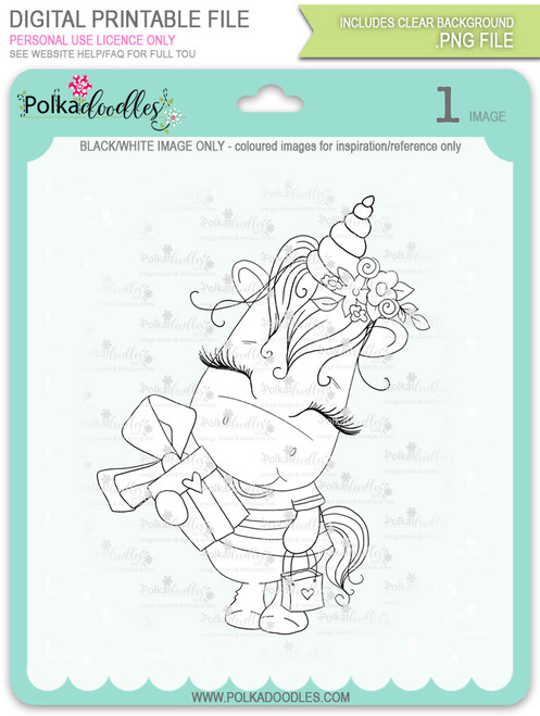 Gift of Love - Sparkle Unicorn digi stamp download
