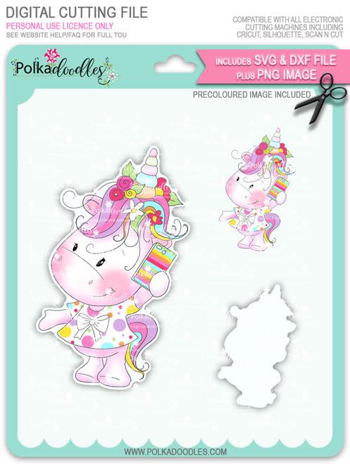 Hello - Sparkle Unicorn COLOUR digi stamp download with Cutting File