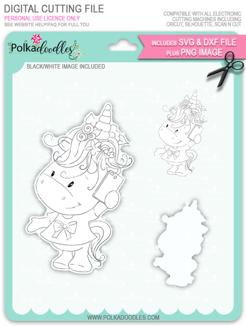 Hello - Sparkle Unicorn digi stamp download with Cutting File