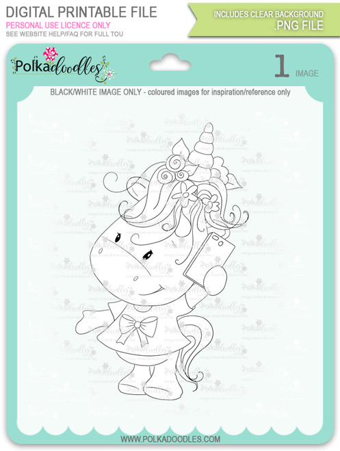 Hello - Sparkle Unicorn digi stamp download