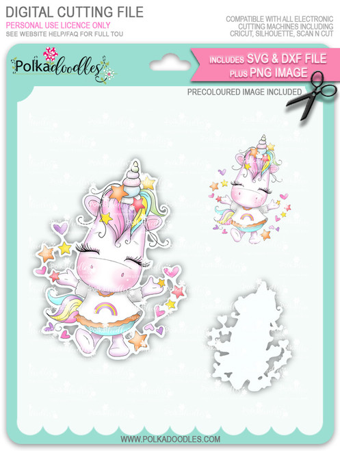 Hooray - Sparkle Unicorn COLOUR digi stamp download with Cutting File