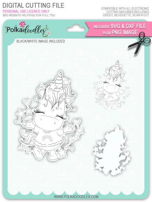 Hooray - Sparkle Unicorn digi stamp download with Cutting File