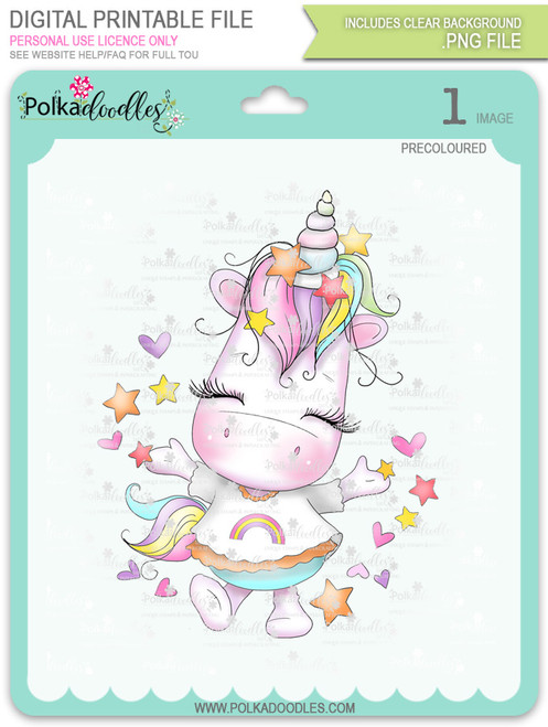Hooray - Sparkle Unicorn COLOUR digi stamp download