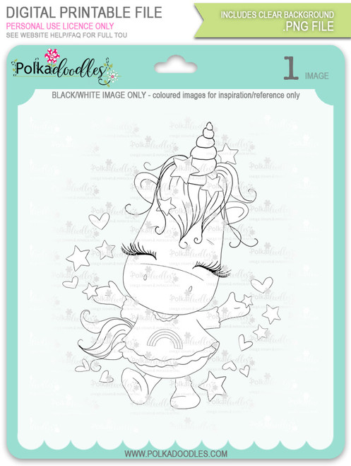 Hooray - Sparkle Unicorn digi stamp download