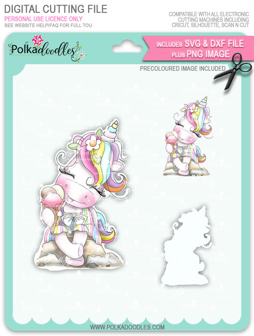 Ice Cream Days - Sparkle Unicorn COLOUR digi stamp download with Cutting File