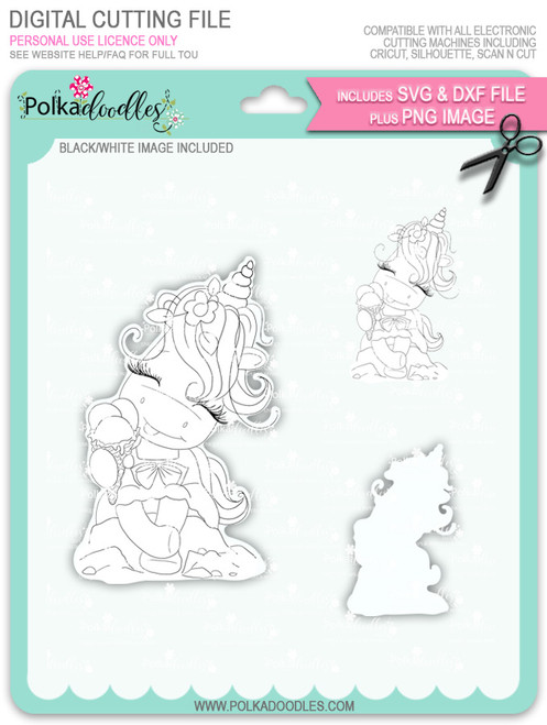 Ice Cream Days - Sparkle Unicorn digi stamp download with Cutting File