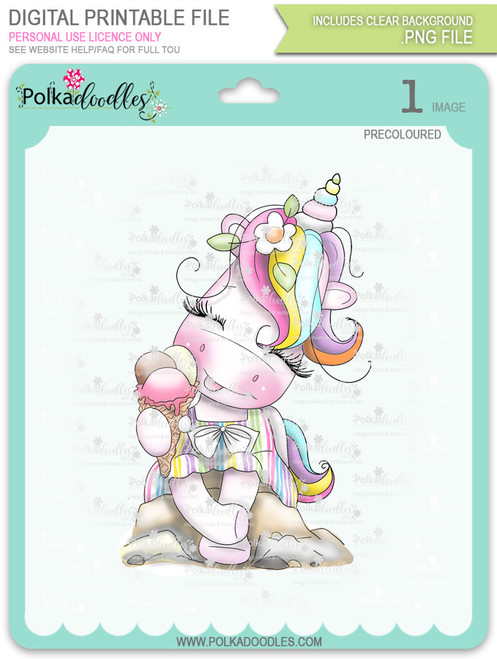 Ice Cream Days - Sparkle Unicorn COLOUR digi stamp download