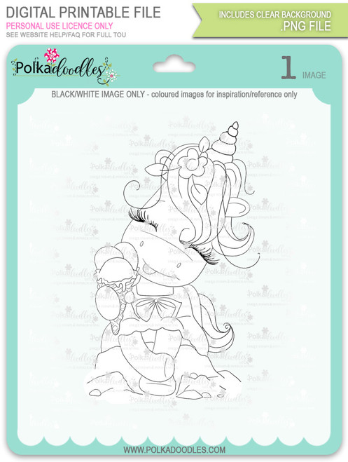 Ice Cream Days - Sparkle Unicorn digi stamp download