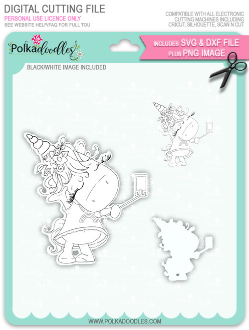 Selfie - Sparkle Unicorn digi stamp download with Cutting File