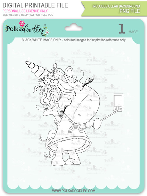 Selfie - Sparkle Unicorn digi stamp download