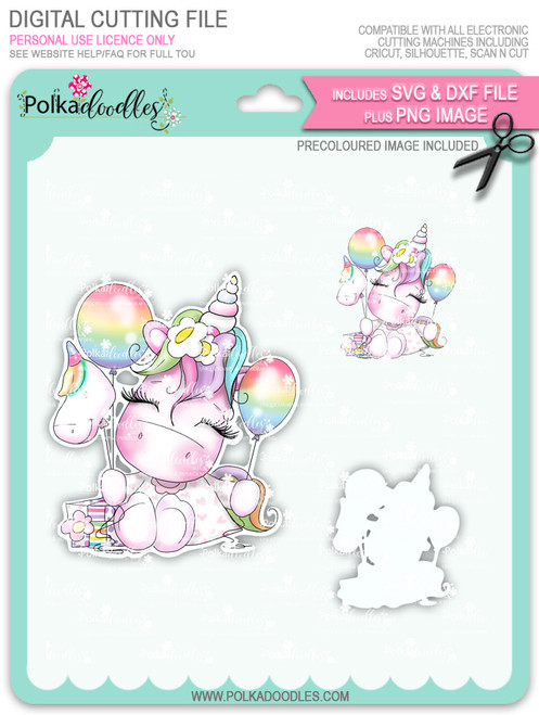 Special Time - Sparkle Unicorn COLOUR digi stamp download with Cutting File