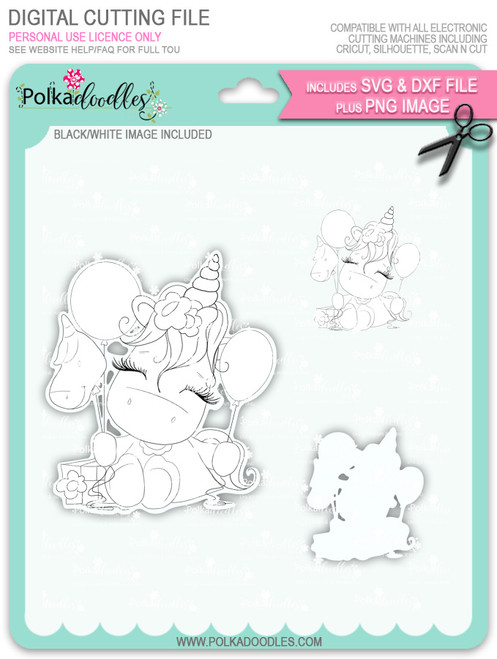 Special Time - Sparkle Unicorn digi stamp download with Cutting File