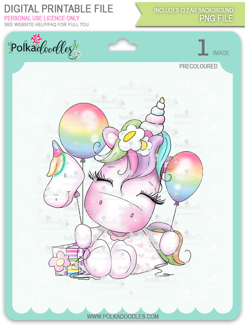 Special Time - Sparkle Unicorn COLOUR digi stamp download
