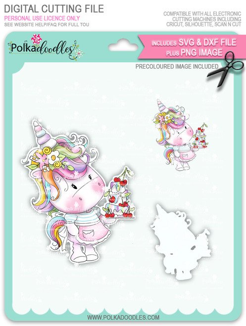 Surprise - Sparkle Unicorn COLOUR digi stamp download with SVG & DXF Cutting File