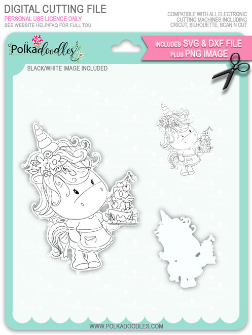 Surprise - Sparkle Unicorn digi stamp download with SVG & DXF Cutting File