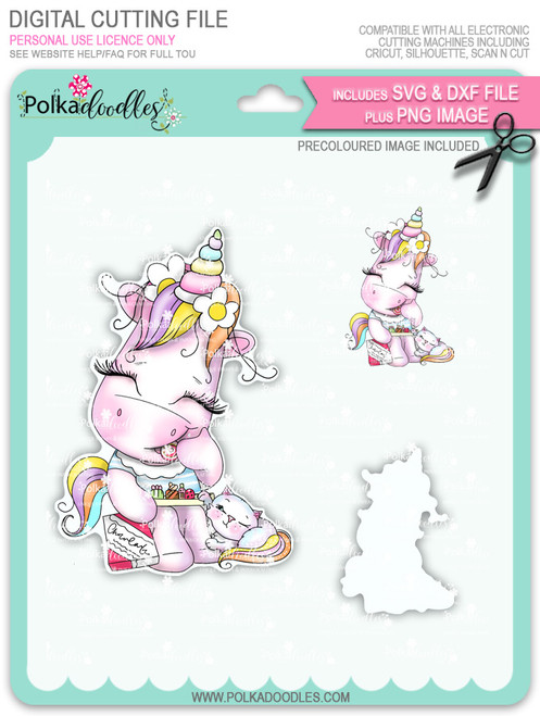 Treat for Two - Sparkle Unicorn COLOUR digi stamp download with SVG & DXF Cutting File
