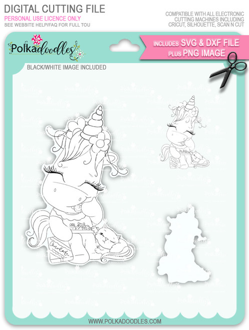 Treat for Two - Sparkle Unicorn digi stamp download with SVG/DXF Cutting File