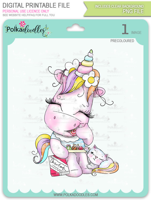 Treat for Two - Sparkle Unicorn COLOUR digi stamp download